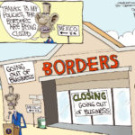 The great Gary McCoy has a great cartoon online about the recent news concerning Borders stores closing.